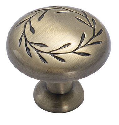 Amerock Inspirations Round Furniture Knob 1-1/4 in. Dia. 1-13/16 in. Elegant Brass 1 pk