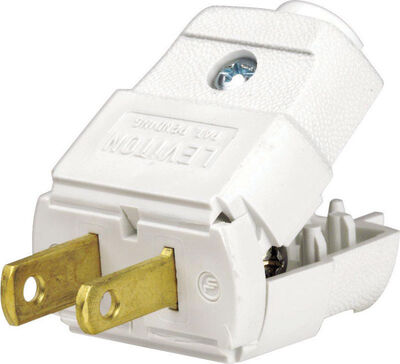 Leviton Residential Thermoplastic Non-Grounding Polarized Plug 1-15P 20-16 AWG 2 Pole 2 Wire