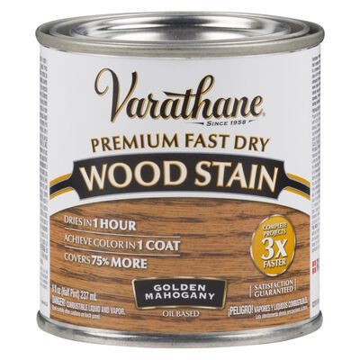 Varathane Premium Fast Dry Semi-Transparent Oil-Based Wood Stain Golden Mahogany .5 pt.
