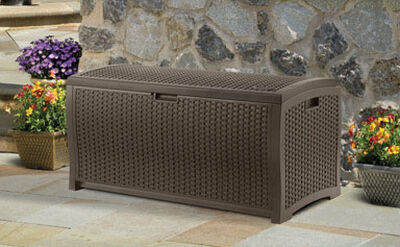 Suncast Resin Wicker Deck Box 25-1/2 in. H x 50 in. W x 25-1/2 in. D Brown