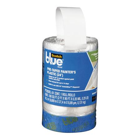 ScotchBlue 30 ft. W x 24 in. L x 0.3 mil Pre-Taped Painter's Plastic 1 pk