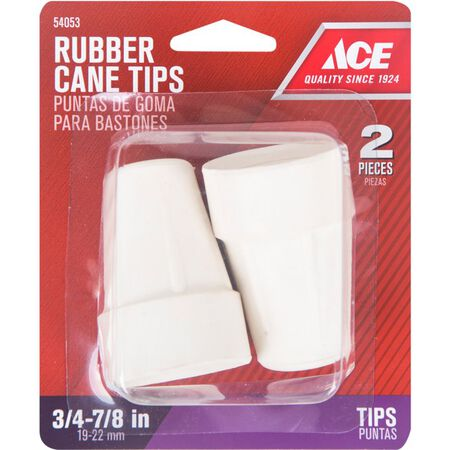 Ace Rubber Round Crutch/Cane Tip Off-White 7/8 in. W 2 pk