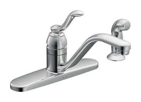 Moen Classic One Handle Chrome Kitchen Faucet Side Sprayer Included