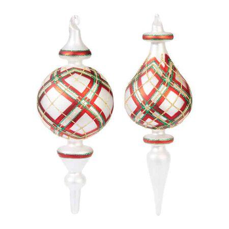 """8.75"""" Plaid Finial Ornament"""
