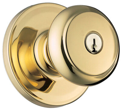Weiser Troy Entry Lockset Polished Brass Steel 2 Grade Left Handed Right Handed