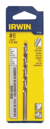 Irwin High Speed Steel Straight Shank No. 6 in. Dia. x 3-3/4 in. L Wire Gauge Bit 1 pc.