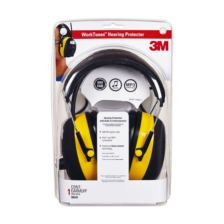 3M WorkTunes 24 dB Digital Hearing Protector with AM/FM Radio Black/Yellow 1 pair
