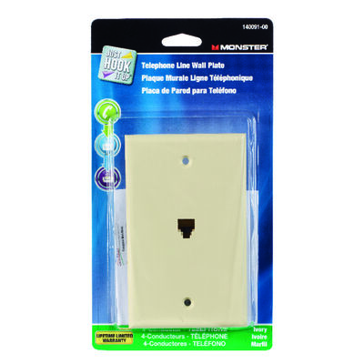 Monster Cable Just Hook It Up 1 gang Ivory Cable/Telco Telephone Line Wall Plate 1 pk