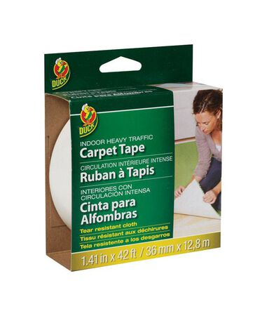 Duck 1.41 in. W x 42 ft. L Cloth Carpet Tape White