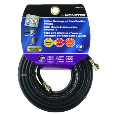 Monster Just Hook it Up 25 ft. L Weatherproof Video Coaxial Cable