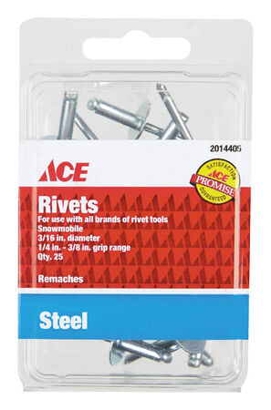Ace 3/16 in. Dia. x 3/8 in. Steel Rivets 25 pk
