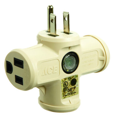 Ace Grounded Triple Outlet Adapter Beige 15 amps 125 volts 1 pk