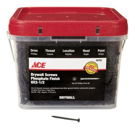 Ace No. 8 x 3 in. L Phillips Drywall Screws Bugle Head Black Phosphate Coarse Thread 25 lb.