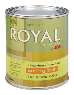 Ace Royal Acrylic Latex House & Trim Paint & Primer Semi-Gloss 1 qt. Ultra White