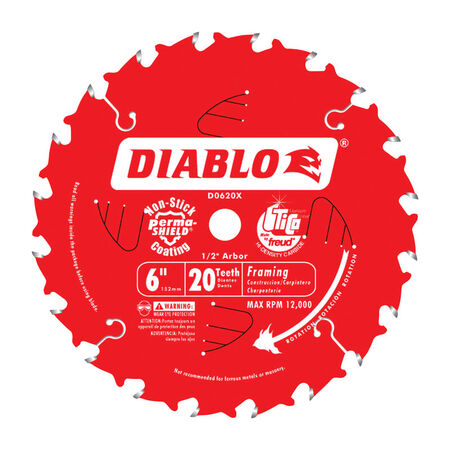 Freud Diablo 6 in. Dia. 20 teeth Carbide Tip Metal Framing Blade For Cutting Wood