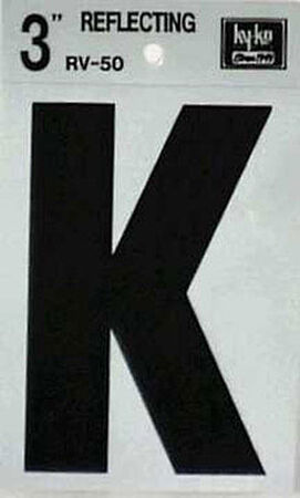 Hy-Ko Self-Adhesive Black 3 in. Reflective Vinyl Letter K