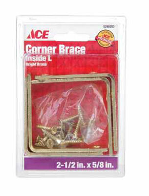 Ace Inside L Corner Brace 2-1/2 x 5/8 in. Brass