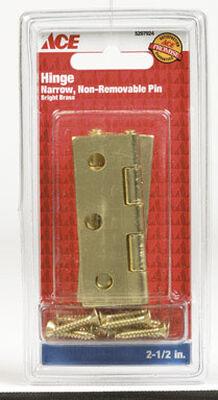 Ace Steel Narrow Hinge 2-1/2 in. L Bright Brass 2 pk