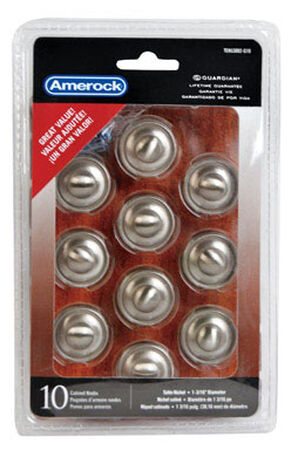 Amerock Allison Round Furniture Knob 1-3/16 in. Dia. 1 in. Satin Nickel 10 pk