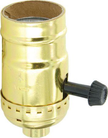 Leviton 250 watts 250 volts Turn Knob Socket Polished Gilt
