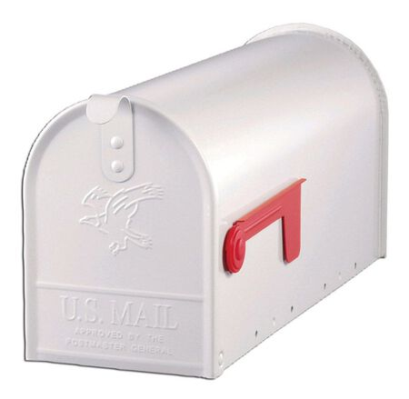 Solar Group Gibraltar Elite Steel Post Mounted Mailbox White 8-3/4 in. H x 20 in. L