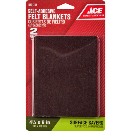 Ace Felt Rectangle Self Adhesive Pad Brown 4-1/2 in. W x 6 in. L 2 pk