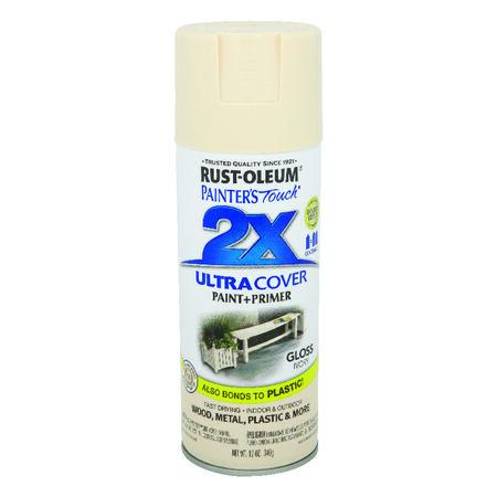 Rust-Oleum Painter's Touch Ultra Cover Ivory Gloss 2x Paint+Primer Enamel Spray 12 oz.