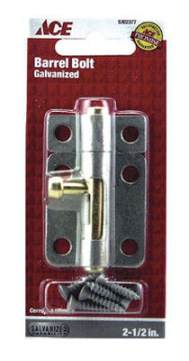 Ace Barrel Bolt 2-1/2 in. Galvanized For Lightweight Doors Chests and Cabinets
