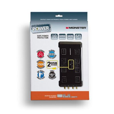 Monster Just Power It Up 6 ft. L 10 outlets Surge Protector Black