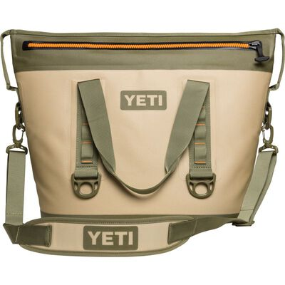 YETI Hopper Two 30 Soft Sided Cooler 24 can Field Tan/Blaze Orange
