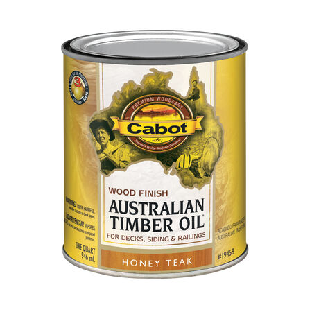 Cabot Transparent 19458 Honey Teak Oil-Based Natural Oil/Waterborne Hybrid Australian Timber Oi