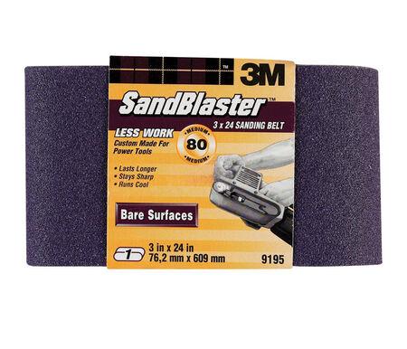 3M SandBlaster Sanding Belt 3 in. W x 24 in. L 80 Grit Medium 1 pk