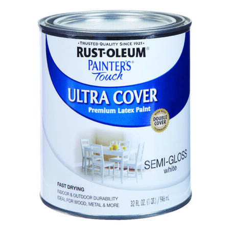 Rust-Oleum Painters' Touch Ultra Cover Interior/Exterior Latex Paint White Semi-Gloss 1 qt.