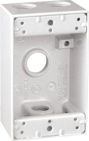 Sigma 4-1/2 in. H Rectangle 1 Gang Outlet Box 1/2 in. White Aluminum