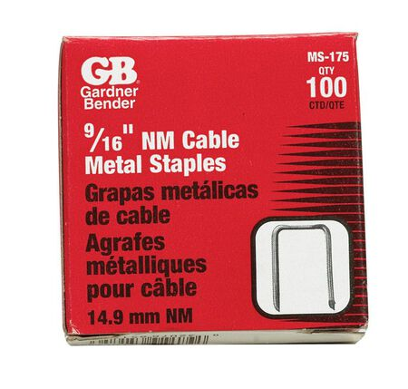 GB 9/16 in. W Graphite metallic Steel Insulated Cable Staple 100