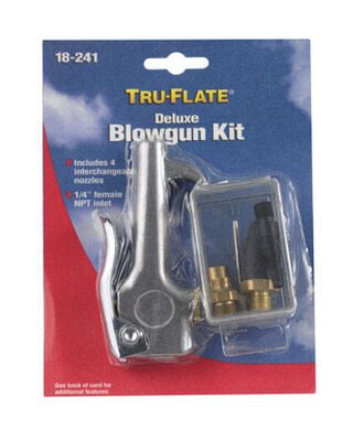 Tru-Flate Steel Deluxe Blow Gun Kit 1/4 in. NPT
