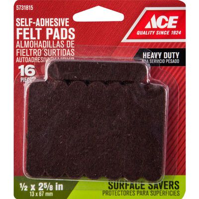 Ace Felt Round Self Adhesive Pad Brown 1/2 in. W x 2-5/8 in. L 16 pk