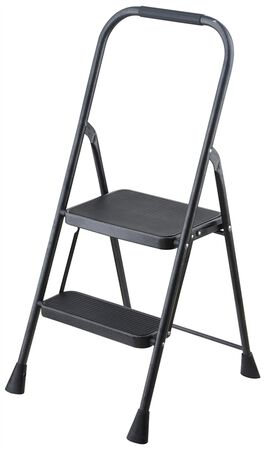Simple Spaces WK-2062A Folding Type 3 Step Stool, 2 Steps, 200 lb, Steel, Powder-Coated, Gray