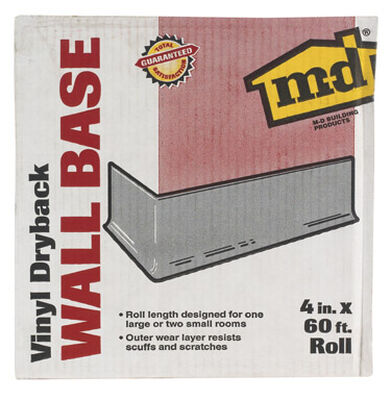 M-D Building Products Coved Wall Base Vinyl 4 in. H x 60 ft. W Silver Gray