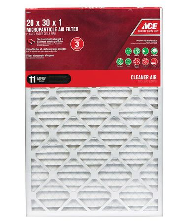 Ace 30 in. L x 20 in. W x 1 in. D Pleated Microparticle Air Filter 11 MERV