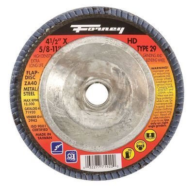 Forney 4-1/2 in. Dia. x 5/8-11 in. Blue Zirconia Flap Disc 40 Grit