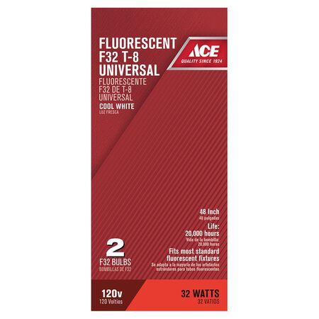 Ace Fluorescent Bulb 32 watts 2600 lumens Linear Fluorescent T8 48 in. L Cool White 2 pk