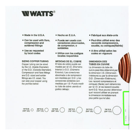 Watts Pre-Cut Copper Tubing Type L 3/8 in. Dia. x 15 ft. L