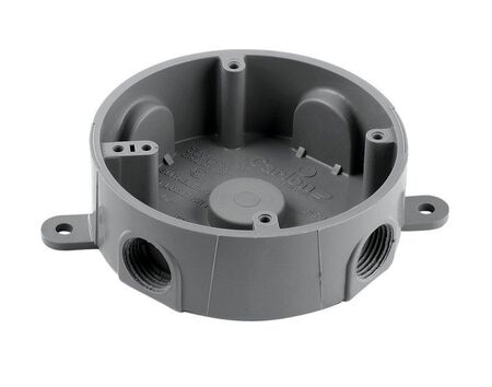Carlon Round Junction Box 1/2 in. Gray PVC