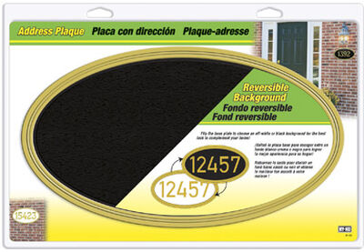 Hy-Ko (5) 4 or (3) 5 in. Plastic Address Plaque Oval Off-White/Black