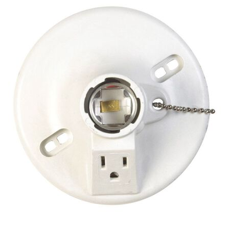 Allied Moulded 660 watts Lampholder w/Outlet & Pull Chain 250 volts White