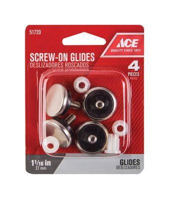 Ace 1.06 in. Dia. x 1.06 in. W Nickel Glide with Threaded Stem 4