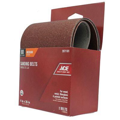 Ace Sanding Belt 4 in. W x 36 in. L 80 Grit Medium 2 pk
