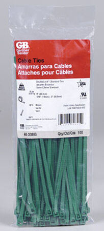 Gardner Bender DoubleLock 8 in. L Green Cable Tie 100 pk