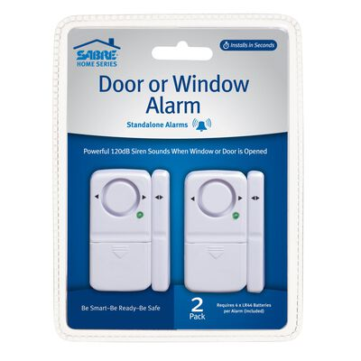 Sabre White Door or Window Alarm 2.5 in. H x 1.625 in. W x 0.5 in. L 2 Pack